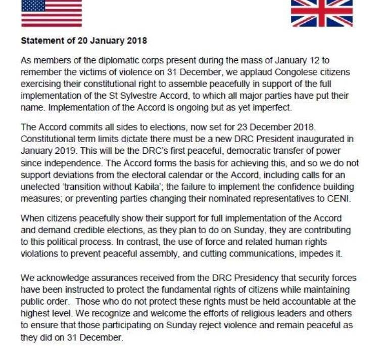 statement of january 20 2018 u s embassy in the democratic